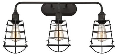 Angelo Brothers Co 6338000 6338000 WESTINGHOUSE 3 LIGHT WALL FIXTURE OIL RUBBED BRONZE FINISH CAGE SHADES