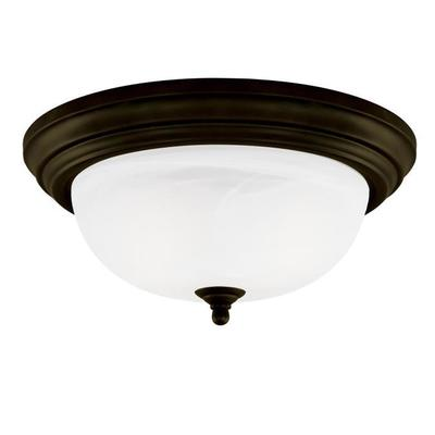 Angelo Brothers Co 6429000 6429000 WESTINGHOUSE 1 LIGHT FLUSH OIL RUBBED BRONZE FINISH WITH FROSTED WHITE ALABASTER GLASS