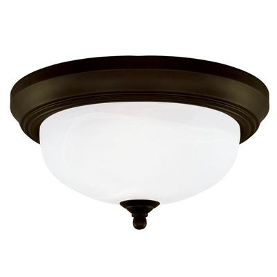Angelo Brothers Co 6429100 6429100 WESTINGHOUSE 13 IN. 2 LIGHT FLUSH OIL RUBBED BRONZE FINISH FROSTED WHITE ALABASTER GLASS