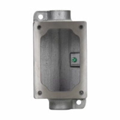 Cooper Crouse-Hinds EDSC171 Crouse-Hinds EDSC171 1-Gang, (2) 1/2 in. Feed-Through Type Hubs, Explosion-Proof, Dust-Ignitionproof, Iron Alloy, Deep EDS Series Mounting Body, 2-11/16 in. Deep