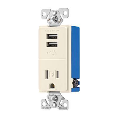 Cooper Wiring Devices TR7741LA-BOX TR7741LA-BOX COOPER USB 2.4A SINGLE RECP 15A 125V LA