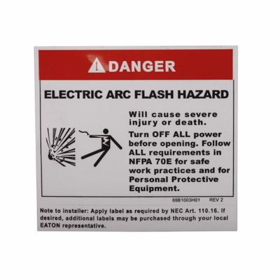 Eaton / Cutler Hammer ARCFLASHLBL Eaton / Cutler Hammer ARCFLASHLBL Arc Flash Label; 3.500 Inch x 3.500 Inch x 0.020 Inch