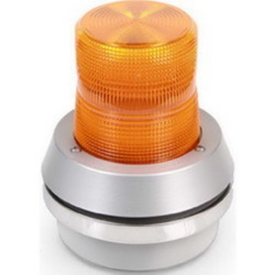 Edwards 51XBRFA24D Edwards 51XBRFA24D XTRA-BRITE™ 51XBR Series Combination Flashing LED Beacon With Horn; 24 Volt DC, 0.275 Amp, Amber, 1/2 Inch NPT Conduit Mount