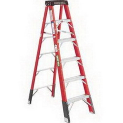 Green Bull Ladders 204214 Green Bull Inc 204214 Heavy Duty Twin Step Ladder; Fiber Glass Sleeve, 300 lb, 14 ft Height