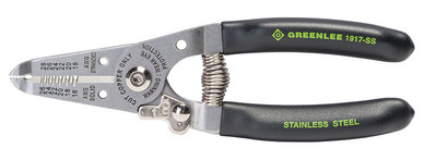 Greenlee 1917-SS Greenlee 1917-SS Wire Stripper/Cutter; 16-26 AWG Solid and 18-28 AWG Stranded Cutting Range, 6 Inch Overall Length