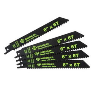 Greenlee 353-646 Greenlee 353-646 Bi-Metal With Cobalt Reciprocating Saw Blade; 6 Inch, 3/4 Inch, 6 TPI, 5/Pack