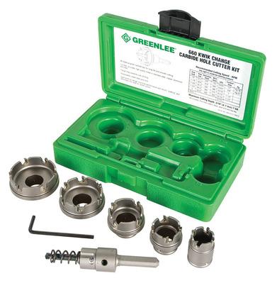 Greenlee 660 Greenlee 660 Kwik Change™ 5-Piece Hole Cutter Kit; 7/8 Inch, 1-1/8 Inch, 1-3/8 Inch, 1-3/4 Inch, 2 Inch, Carbide Tip