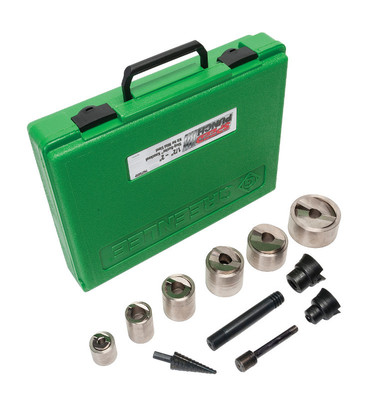 Greenlee 7907SBSP Greenlee 7907SBSP Speed Knockout Punch Kit; 1/2 - 4 Inch, 0.885 - 4.544 Inch Hole, 10 Gauge, Carbon Steel/Nickel Plated Punches and Dies, Black Oxide Coated Speed Lock