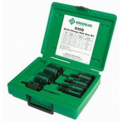 Greenlee 830Q Greenlee 830Q Quick Change Hole Saw Kit; 7/8 Inch, 22 mm, 1 1/8 Inch, 1 3/8 Inch, 1 3/4 Inch, 2 Inch, 2 1/2 Inch, Bi-Metal
