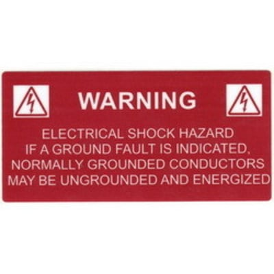 Hellermann Tyton 596-00234 Hellermann Tyton 596-00234 Pre-Printed Solar Label; 4.120 Inch Width x 2 Inch Height, White/Red, WARNING: GROUNDED CONDUCTORS, 50/Roll