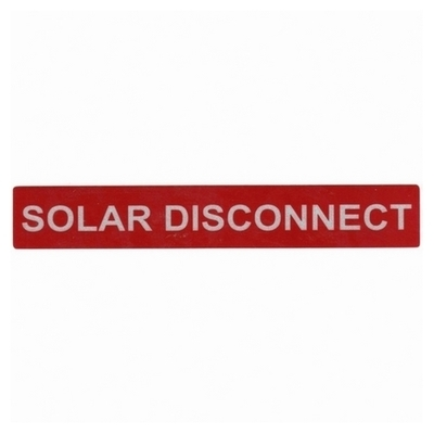 Hellermann Tyton 596-00246 Hellermann Tyton 596-00246 Pre-Printed Reflective Solar Label; 6.500 Inch Width x 1 Inch Height, White/Red, SOLAR DISCONNECT, 50/Roll