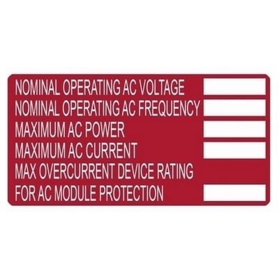 Hellermann Tyton 596-00252 Hellermann Tyton 596-00252 Printable Solar Label; 4 Inch Width x 2 Inch Height, White/Red, NOMINAL OPERATION VOLTAGE, MAXIMIUM AC POWER, 50/Roll