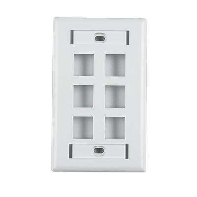 Hellermann Tyton FPISIX-W Hellermann Tyton FPISIX-W 1-Gang Faceplate; Flush, (6) Port, ABS, White