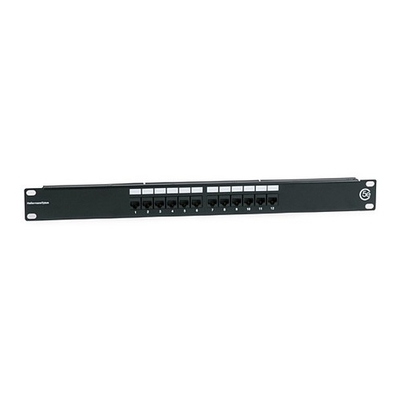 Hellermann Tyton PP110C5E12 Hellermann Tyton PP110C5E12 Universal 110-Punchdown Category 5e RJ45 Modular Patch Panel; 12-Port, 1-Rack Unit, Black