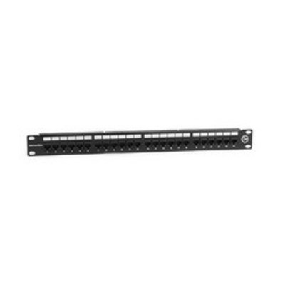 Hellermann Tyton PP110C5E24 Hellermann Tyton PP110C5E24 PP110 Series Universal 110-Punchdown Category 5e Patch Panel; Rack Mount, 24-Port, 1-Rack Unit, Black