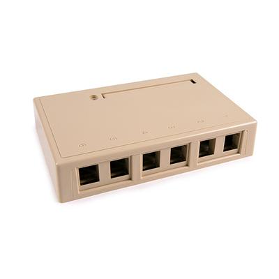 Hellermann Tyton SMBSIX-I Hellermann Tyton SMBSIX-I Surface Mount Box; Screw Mount, PVC, Ivory, (6) Port