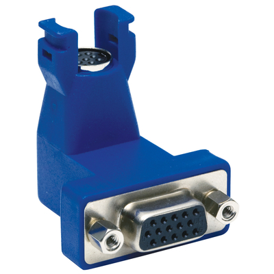 Hubbell Premise Wiring 15N6P10 Hubbell Wiring 15N6P10 Istation™ 15-Pin to 8-Pin Angled 90 Degree VGA Connector; 30 AWG, Flame-Retardant Polymer, Black and Blue