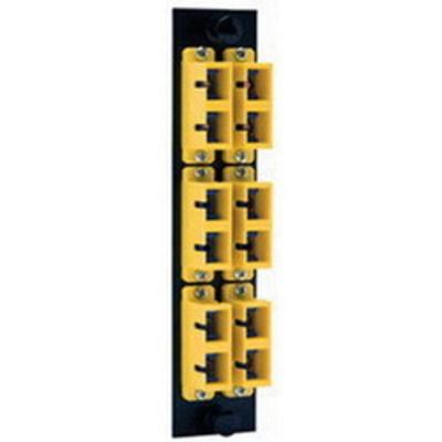 Hubbell Premise Wiring FSPSCDM6BK Hubbell Premise FSPSCDM6BK OptiChannel™ High Density SC Pre-Loaded FSP Adapter Panel; Snap-In Mount, Multimode, 125 um, 6 Duplex Fibers, Black