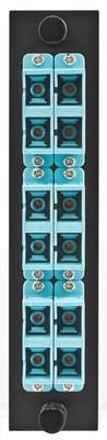 Hubbell Premise Wiring FSPSCDS6AQ Hubbell Premise FSPSCDS6AQ Fiber Adapter Panel; SC, 6 Duplex Fiber, 12-Port, Aqua