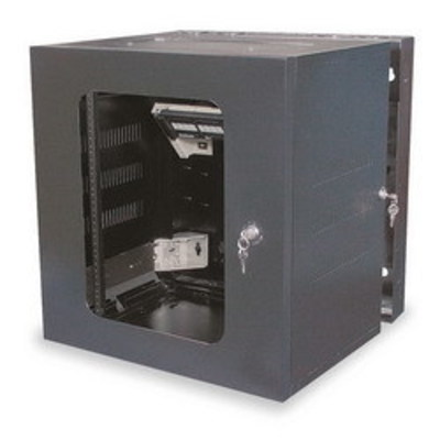 Hubbell Premise Wiring HSQ24 Hubbell Premise HSQ24 Quadcab Window Door Cabinet; Wall/Stud Mount, Black
