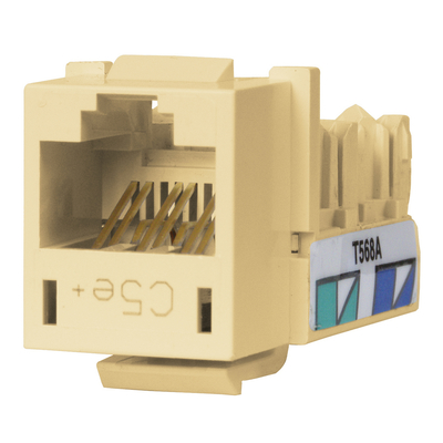 Hubbell Premise Wiring HXJ5ETI Hubbell Premise HXJ5ETI Xcelerator™ Speedgain™ Universal Standard Size Category 5e Modular Datacom Jack; 8P8C, Telco, Ivory