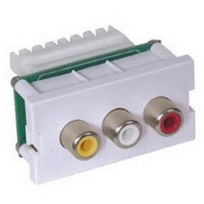 Hubbell Premise Wiring IMR1101OW Hubbell Premise IMR1101OW iSTATION™ Standard AV Module; 1000 Volt RMS, 1414 Volt DC, UTP Category 3, 5, 5e, 6, 6A 110 IDCs Cable With Male RCA Plug, Off-White/Yellow/Red/White Insulator