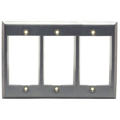 Hubbell Premise Wiring IMSS3 Hubbell Premise IMSS3 iStation™ 3-Gang Faceplate; Screw, (3) Port, 430 Stainless Steel