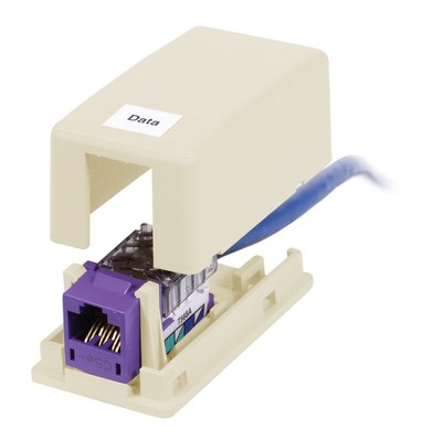 Hubbell Premise Wiring ISB1EI Hubbell Premise ISB1EI Istation™ Low Profile Surface Mount Box; Screw Mount, Composite, Electric Ivory, (1) Port