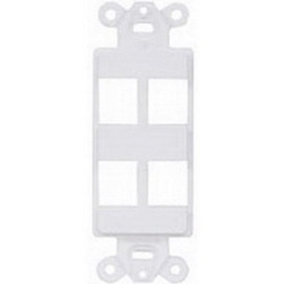 Hubbell Premise Wiring ISF4W Hubbell Premise ISF4W 1-Gang Decorator Outlet Frame; Screw, (4) Port, Keystone, High Impact Nylon, White