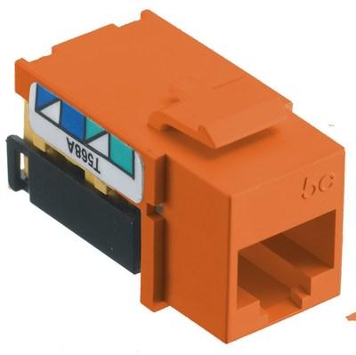 Hubbell Premise Wiring NSJ5EOR Hubbell Wiring NSJ5EOR NetSelect® Universal A/B Standard Size Category 5e Modular Voice/Data Jack; Screw Mount, 8P, Orange