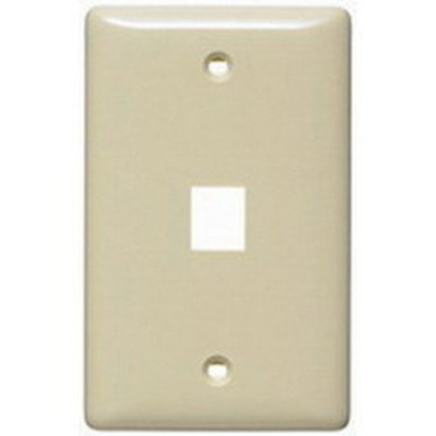 Hubbell Premise Wiring NSP11W Hubbell Wiring NSP11W 1-Gang Multimedia Faceplate; Box/Flush, (1) Port, Keystone, Flame Retardant ABS, White