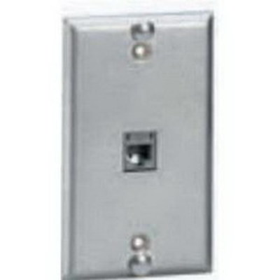 Hubbell Premise Wiring P630S1GJC6 Hubbell Premise P630S1GJC6 iStation™ 1-Gang USOC Wallplate; Flush, (1) 6-Position RJ25 Jack, Stainless Steel