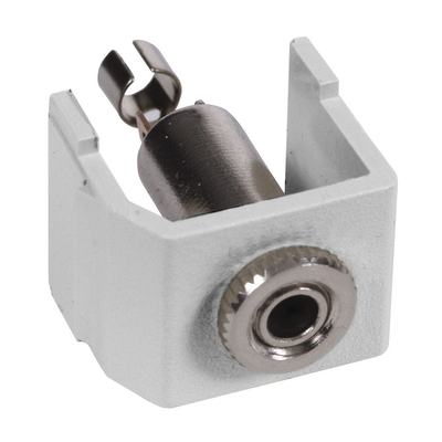 Hubbell Premise Wiring SF35SJW Hubbell Premise SF35SJW iSTATION™ 3.5 mm AV Keystone Stereo Jack; Solder, Snap-Fit Mount, Nickel-Plated, White
