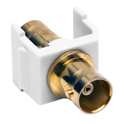 Hubbell Premise Wiring SFBGW Hubbell Premise SFBGW BNC Connector; Female x Female, Snap-Fit, White, Gold