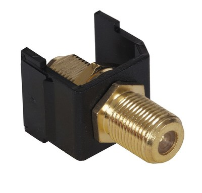 Hubbell Premise Wiring SFFGBK Hubbell Premise SFFGBK iSTATION™ Audio Video Connector; Snap-On- Snap-Fit Mount, Brass, Black, Gold-plated