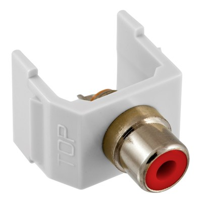 Hubbell Premise Wiring SFRCWW Hubbell Premise SFRCWW AV Connector; RG-6, RG-59, Mini-Coax and RCA Patch Cords, 20-30 AWG, RCA Solder Coupler, Snap-Fit/Solder, White