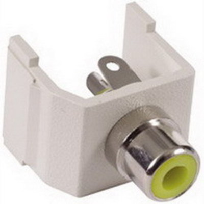 Hubbell Premise Wiring SFRCYW Hubbell Premise SFRCYW istation™ RCA Connector; Snap-Fit Mount, 75 Ohm, Office White/Yellow Insulator
