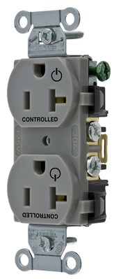 Hubbell Wiring Device-Kellems BR20C2GRY BR20C2GRY HUBBELL WD 2/2 CONTROLLED 20A 125V, B/S, DUP, GY