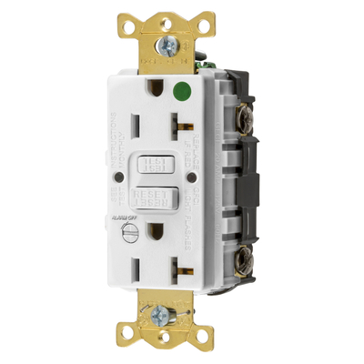 Hubbell Wiring Device-Kellems GFRST83WB GFRST83WB HUBBELL WD 20A COMM HG SELF TEST ALARM GFR WHITE