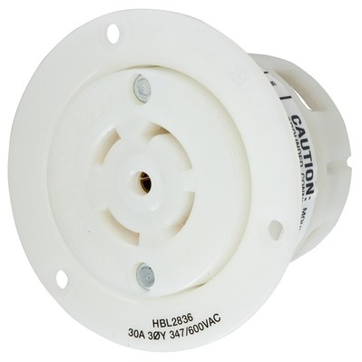 Hubbell Wiring Device-Kellems HBL2836 HBL2836 HUBBELL WD LKG FLG-RCPT, 30A 3PH 347/600V, L23-30R