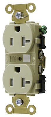 Hubbell Wiring Device-Kellems HBL5262ITR HBL5262ITR HUBBELL WD DUP RCPT, IND, TR, 15A/125V, 5-15R, IV