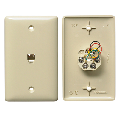 Hubbell Wiring Device-Kellems NS735I Hubbell Wiring NS735I NetSelect® 1-Gang Wall Jack Plate; Screw, Thermoplastic, Electric Ivory