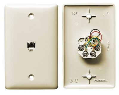 Hubbell Wiring Device-Kellems NS735LA Hubbell Wiring NS735LA Netselect® Mid Size 1-Gang Molded-In Plate; Wall Mount, Thermoplastic, Light Almond