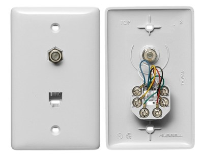 Hubbell Wiring Device-Kellems NS755W Hubbell NS755W Wiring Cable / RJ11 Jack, 1 Gang, White