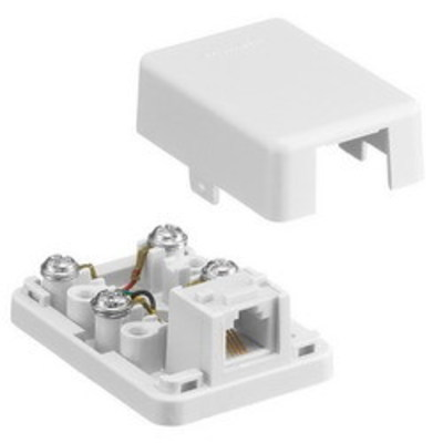 Hubbell Wiring Device-Kellems NS760W Hubbell Wiring NS760W NetSelect® Wallplate; Surface/Screw, (1) 6P4C Jack, High Impact Resistant Thermoplastic, White