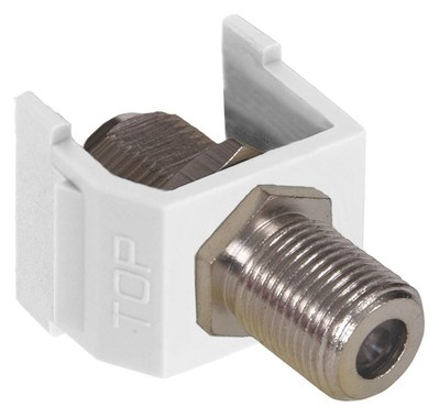 Hubbell Wiring Device-Kellems NSF70W Hubbell Wiring NSF70W NetSelect® Female F-Type Coax Connector; Snap-Fit/Screw Mount, White