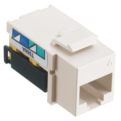 Hubbell Wiring Device-Kellems NSJ6OW Hubbell Wiring NSJ6OW NETSELECT® Universal Snap-In Category 6 Modular Voice/Data Jack; 1 Port, 8 Position, Screw Mount, White, Smooth