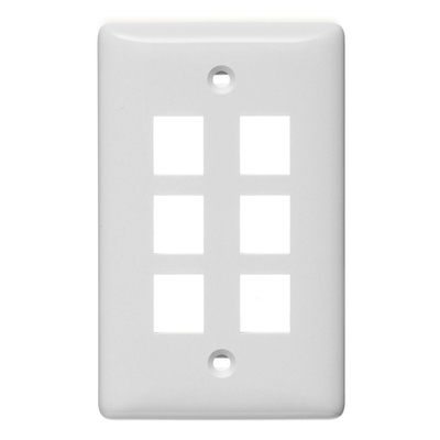 Hubbell Wiring Device-Kellems NSP106W Hubbell Wiring NSP106W Netselect® Mid Size 1-Gang Label-Less Multimedia Face Plate; Wall/Flush/Screw Mount, High Impact-Resistant Thermoplastic, White