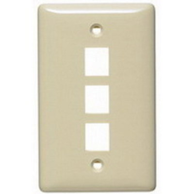 Hubbell Wiring Device-Kellems NSP13AL Hubbell Wiring NSP13AL Netselect® Standard Size 1-Gang Label-Less Multimedia Face Plate; Wall/Flush/Screw Mount, High Impact-Resistant Thermoplastic, Almond