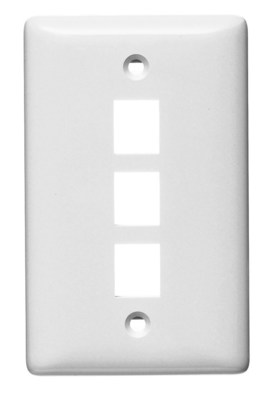 Hubbell Wiring Device-Kellems NSP13W Hubbell Wiring NSP13W Netselect® Standard Size 1-Gang Multimedia Face Plate Without Label; Flush/Screw Mount, High Impact-Resistant Thermoplastic, White